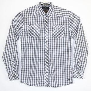 Scotch and Soda Mens XL Black Dress Shirt Snap